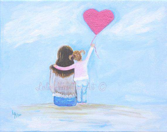 """Mother Daughter Child Painting Mother Little Girl Sister Sibling Toddler Beach Mom """"Pink Heart Balllon"""" Leslie Allen Fine Art on Etsy, $80.00"""