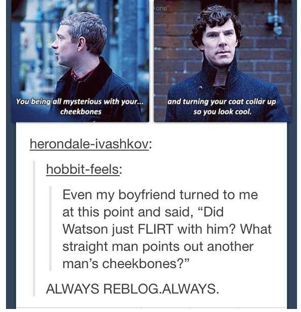If Watson didn't love Sherlock I would think he was asexual... I mean, come on!!! Just look at those cheek bones and that upturned collar :)