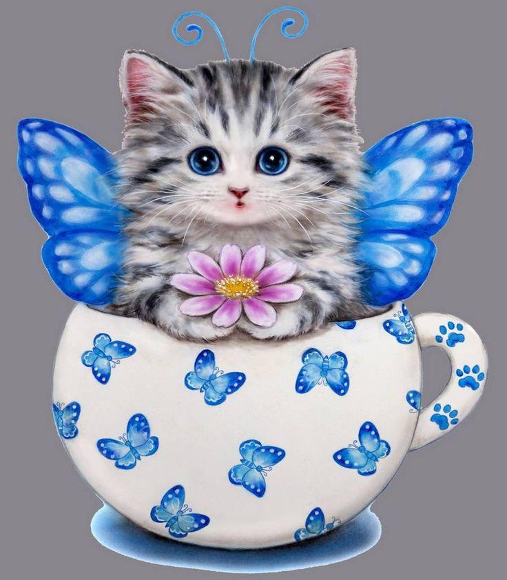 Картинка кошка в кружке