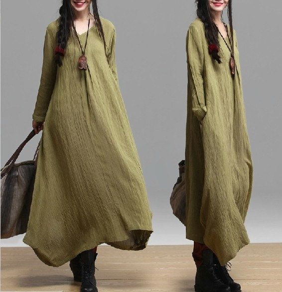 2colors women black and green plus size linen tunic tops by Aolo