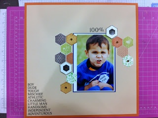Sometimes simple is best!  A Scrapbooking Layout with hexagons and rub ons