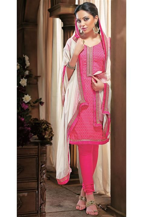Elegant Wear Cotton Pink,Off White Printed Suit