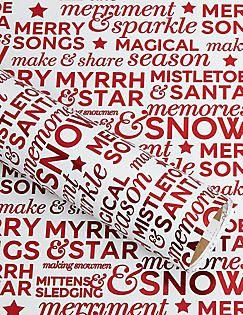Joyeux Noel-kerstcadeaupapier met rode folie en tekst, 3m,