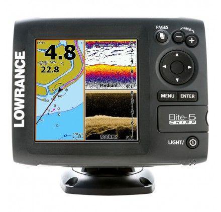 LOWRANCE ELITE-5 CHIRP FISHFINDER-CHARTPLOTTER GOLD COMBO - 50-200 - 455-800 TRANSOM MOUNT #Lowrance_Fishfinder