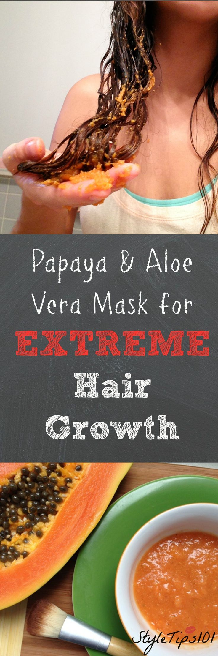Put this on your hair for extreme hair growth: half a papaya + aloe vera gel (from fresh stalk). Mix in food processor and apply to dry hair.