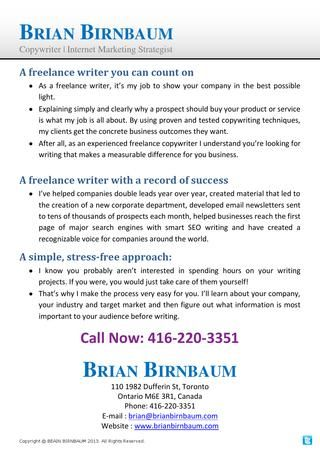 As a freelance writer, it's my job to show your company in the best possible light. http://issuu.com/brianbirnbaum/docs/brian_birnbaum_-_freelance_writer