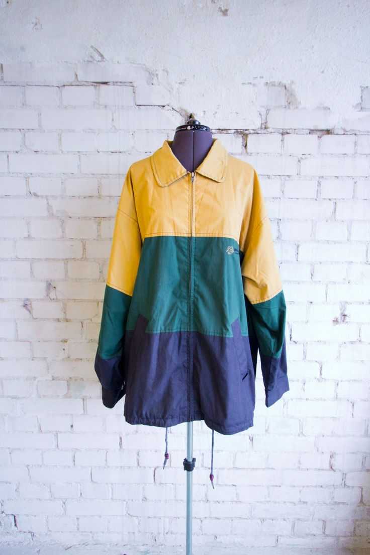 90's George Costanza Striped Timeless Hipster Jacket WindShell Sailor Jacket by BananiFashion on Etsy