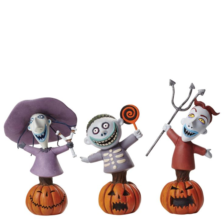 """4046188 Lock, Shock & Barrel- he mischief making trio of trick-or-treaters, Lock, Shock and Barrel, are sent by Oogie Boogie to """"Kidnap The Sandy Claus"""" in Tim Burton's """"The Nightmare Before Christmas"""" #disney #collectable #enesco"""