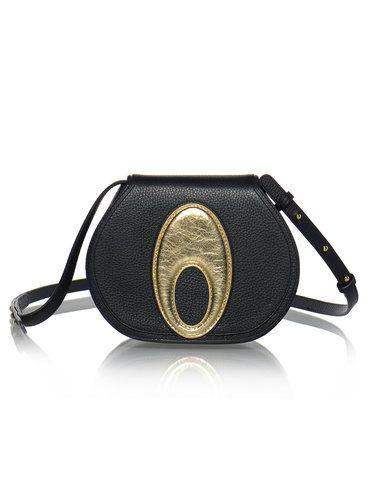 Black-golden Lotus Retro Fold-over Flat Top Full-grain Leather Crossbody Bag
