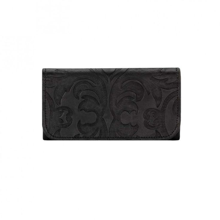 American West Baroque Trifold Wallet Black A perfect match for the Baroque handbag in the same colour with a vintage design in hand tooled leather. $139.00