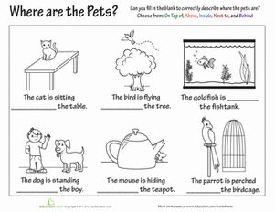 Second Grade Grammar Worksheets: Preposition Practice