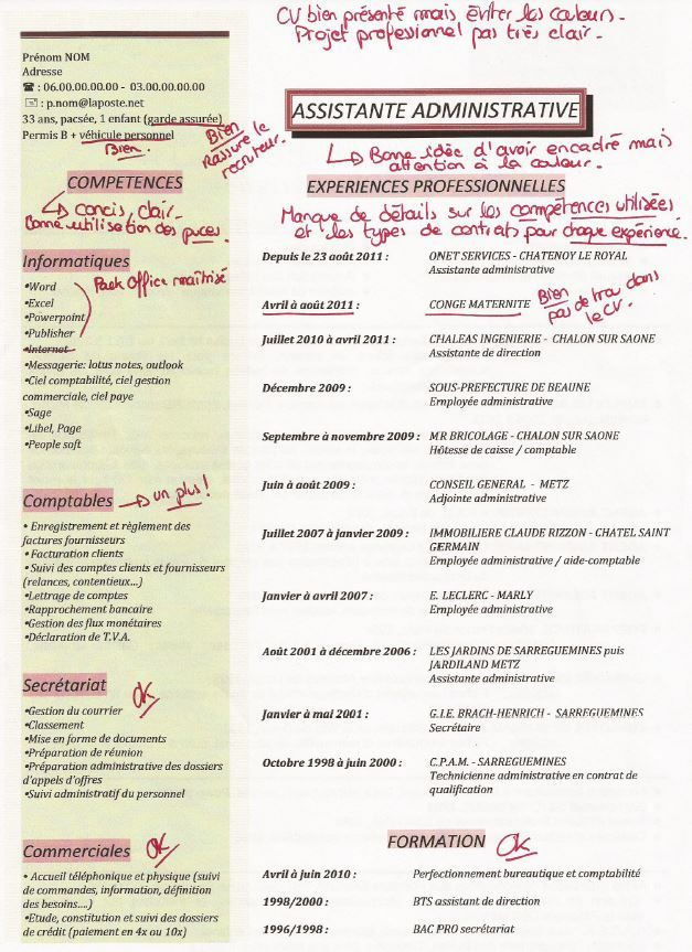 cv assistante administrative pinterest