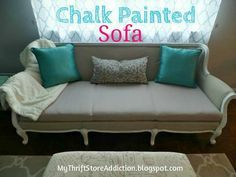 Yes, you can paint upholstery without having it feel hard and crunchy.  My Thrift Store Addiction : Painted Sofa Reveal!