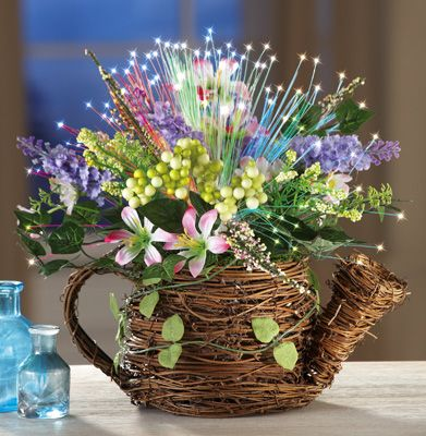 Lighted Fiber Optic Floral Watering Can Easter