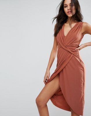 Сетчатое платье-футляр миди с отделкой спереди ASOS