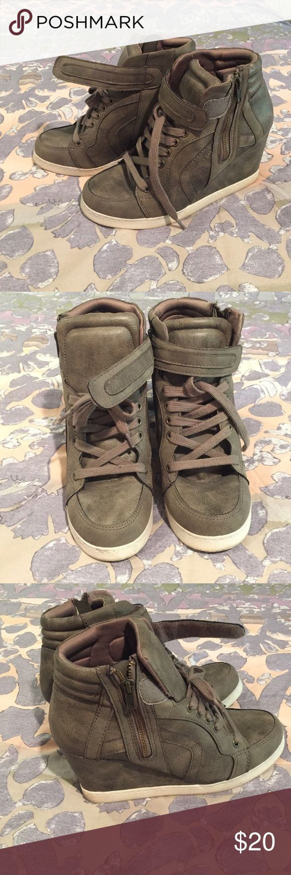 Candie's wedge tennis shoes Rustic gray color with shoe laces and Velcro up top. Zipper on the outer side of each shoe. Worn twice Candie's Shoes Sneakers