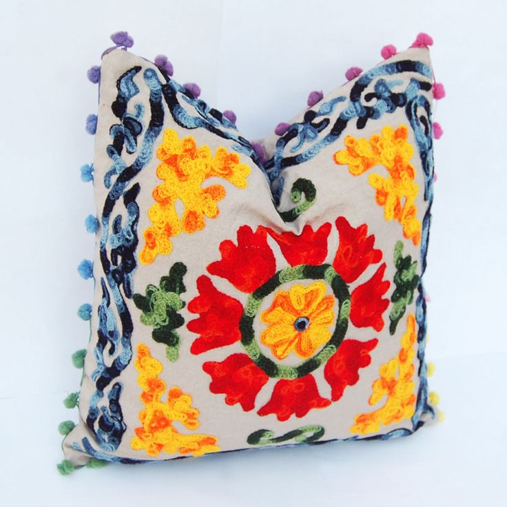 Handmade Pom Pom Square Decor Uzbek Traditional Suzani Embroidery Cushion Cover