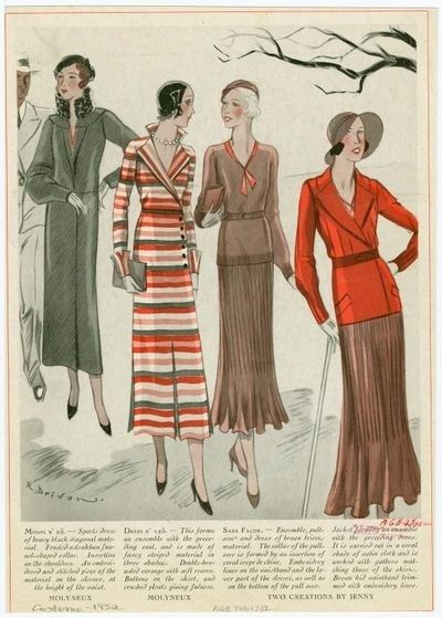 1930s Fashion Sketches Cloth History Pinterest Inspiration
