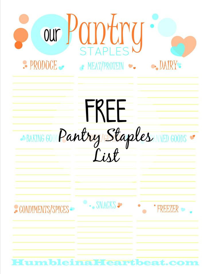 Free Pantry Staples List