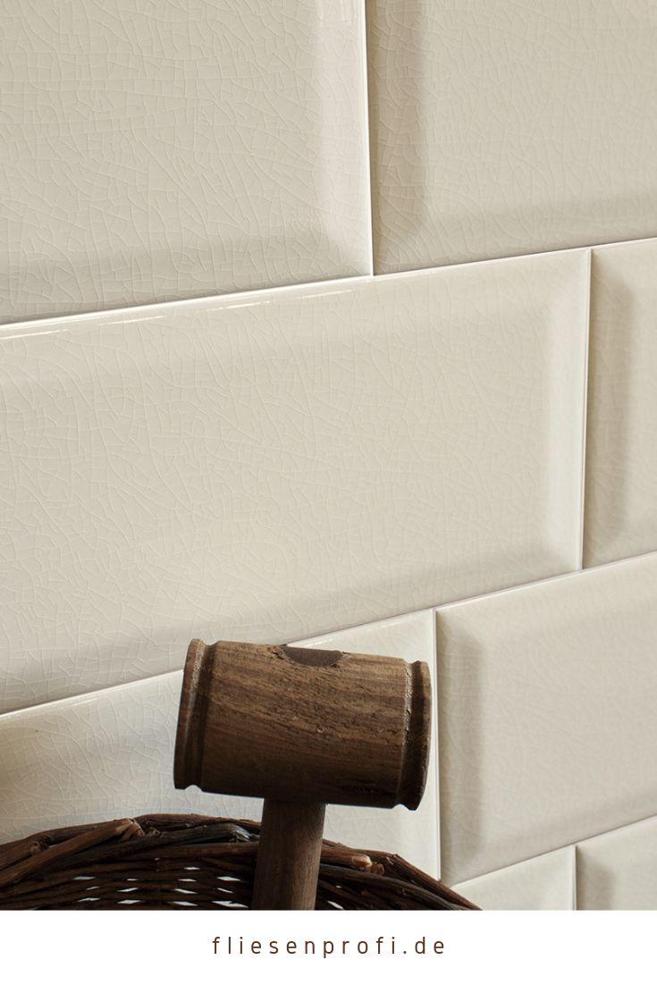 Metro Fliese Küche Bad Craquelé Krakelee creme-weiß glänzend 10×20 Facettenfliese 29,90 €/m² *