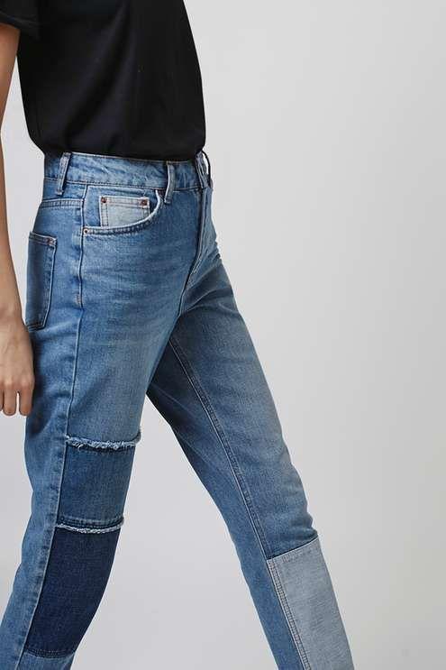 MOTO Patchwork Mom Jeans