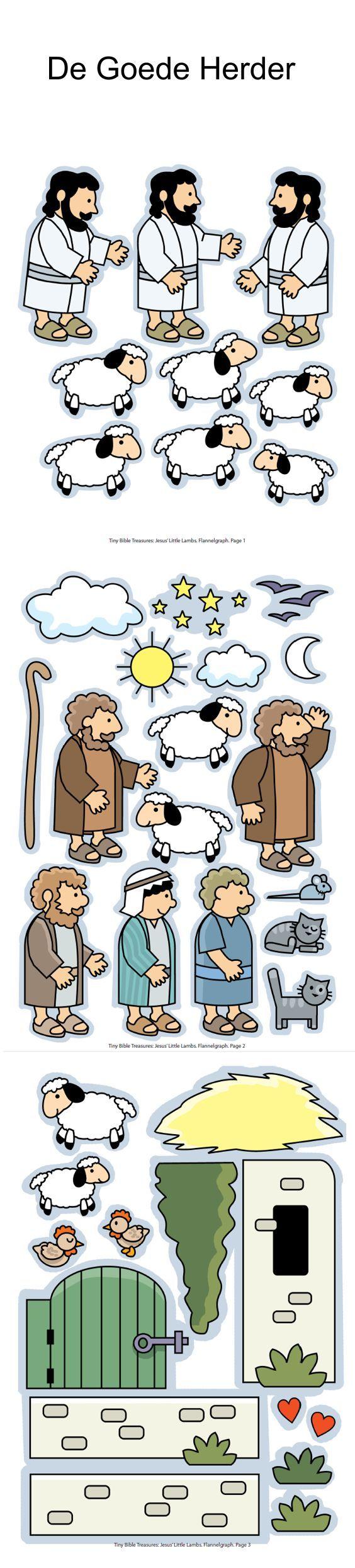 De Goede Herder en het verloren schaap, flanelplaten voor kleuters, kleuteridee.nl , The Good Shepherd, Flannel Bible Sheets, free printable...