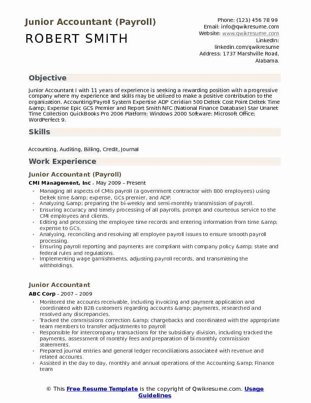 Accounting Graduate Resume No Experience Luxury Junior Accountant Resume Samples In 2020 Accountant Resume Sample Resume Templates Resume No Experience