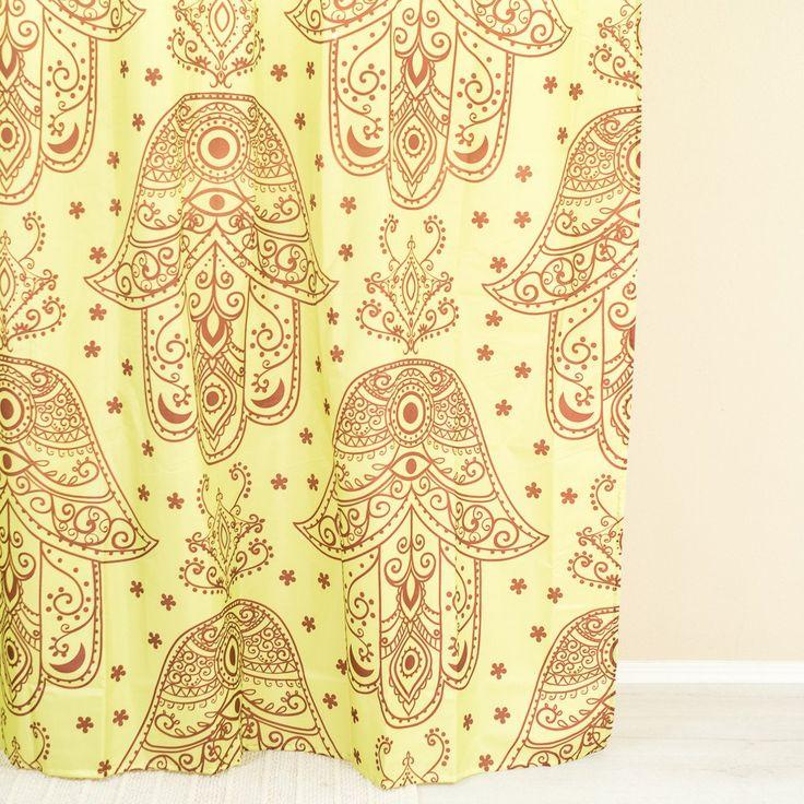 Hamsa Yellow Shower Curtain