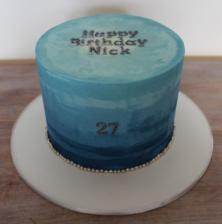 Navy Blue Ombre Buttercream Brushed Effect Cake Boy Man Manly Guy - Birthday cake for a guy