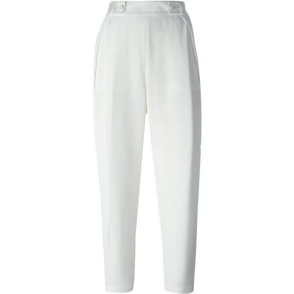 3.1 Phillip Lim cropped tailored trousers (6 370 UAH) ❤ liked on Polyvore featuring pants, capris, bottoms, trousers, white, high rise pants, tailored pants, high waisted pleated pants, white high waisted pants and silk cropped pants