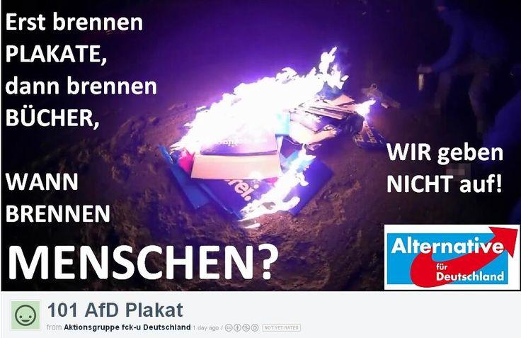 #Grüne- #Linke- #Antifa- #Blockupy- Wir sind gekommen, um zu bleiben. Auch wenn Ihr heute Plakate verbrennt. #AfD+ pic.twitter.com/dppaCov8XR