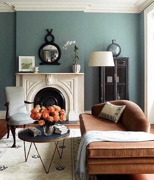 .Pretty cool bluish gray to accent my orane livingroom