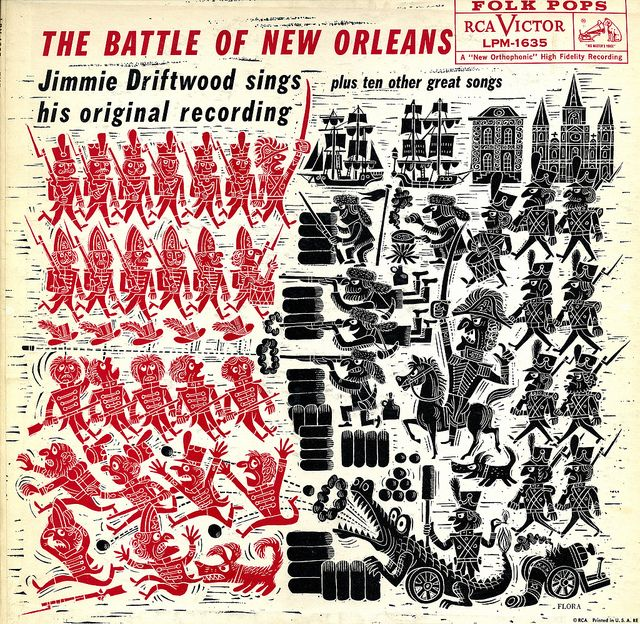 Jim Flora album cover art for Jimmie Driftwood, The Battle of New Orleans 1958.