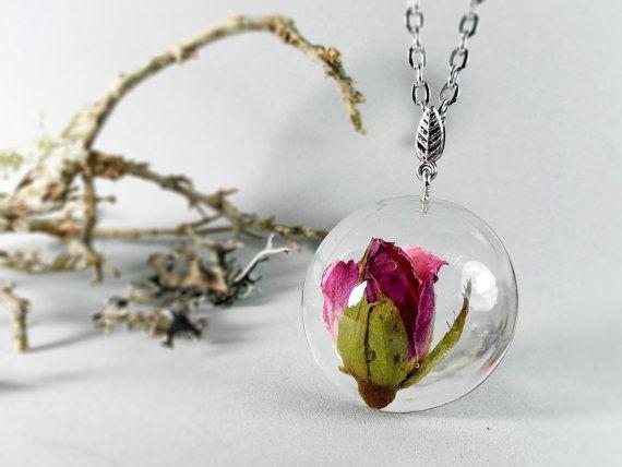 Pink rosebud resin sphere pendant botanical pendant by ByEmilyRay