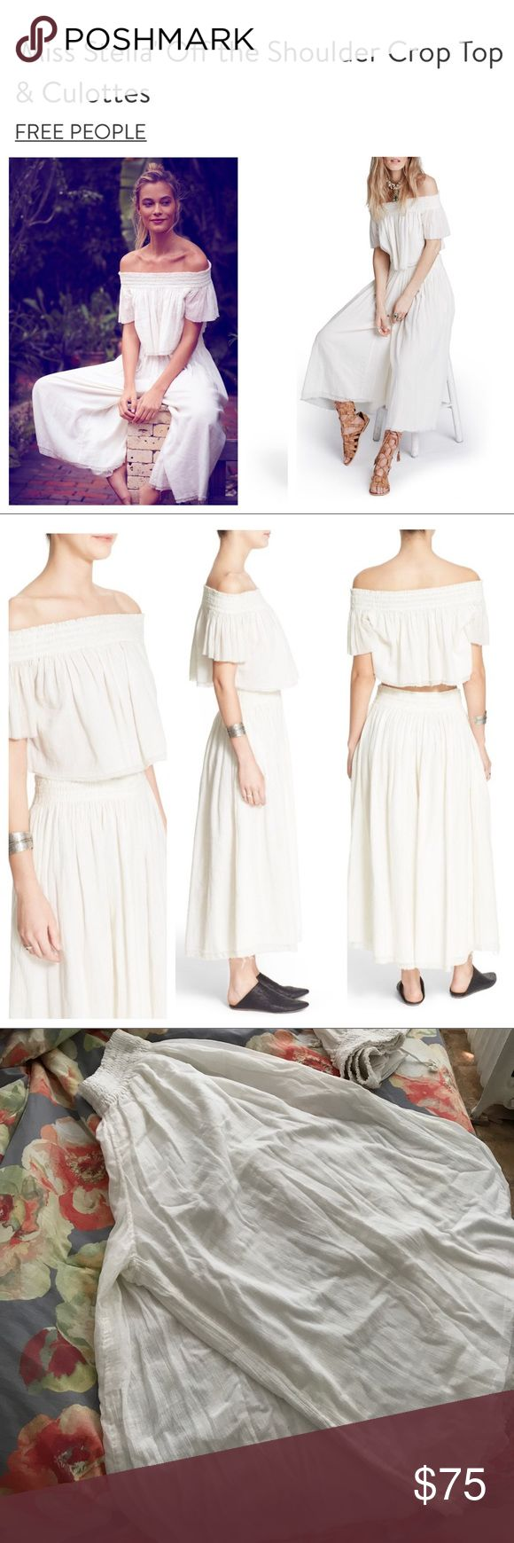 FREE PEOPLE-Miss Stella Off the Shoulder&Culottes It's a white linen like set. It's 100% Cotton. The style is very light weight with unfinished hems. Off the shoulders crop top and the pants are wide leg culottes. Very Comfortable. Great for summer outings. Never worn. Was meant for maternity pictures but never happened. It's see-thru and has pockets. You can find it in 2 other colors on Free People website. The reviews says it runs large so this medium set will fit if you're a large. PRICE…