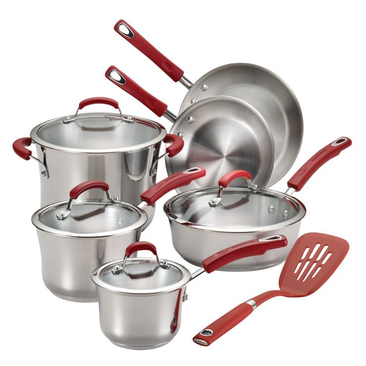 11 Piece Non-stick Stainless Steel Cookware Set