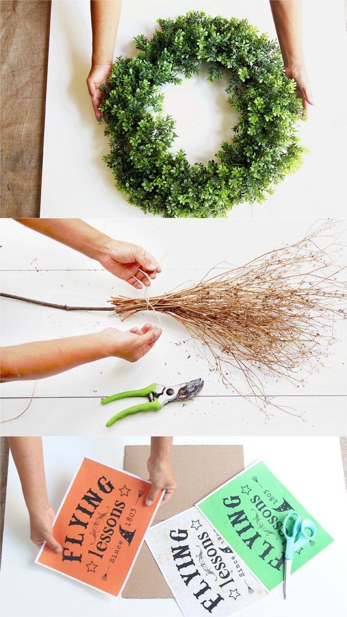 Flying Witch DIY Halloween Wreath (Wickedly Easy!) Your Best DIY - diy indoor halloween decorations