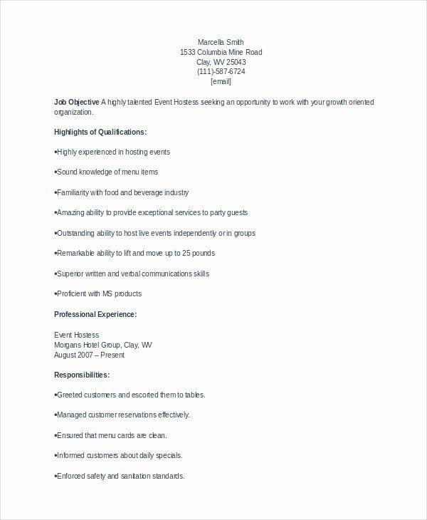 Hostess Job Duties Resume Fresh 6 Hostess Resume Templates Pdf Doc In 2021 Sample Resume Templates Free Word Document Resume Examples
