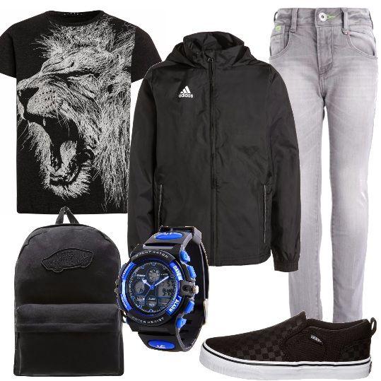 Ho creato questo look per un ragazzo grintoso: giacca sportiva da abbinare alla bellissima t-shirt con stampa e al denim grigio. Gli accessori completano il look in modo perfetto: zainetto, orologio e sneakers.
