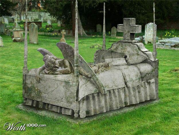 A bed tombstone. My worst NIGHTMARE. I spend so much time in bed with illness. This is the last thing i would ever want. To spend eternity under one!