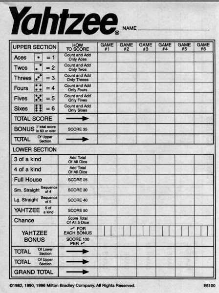 Free Printable Power Yahtzee Score Sheets coloring pages