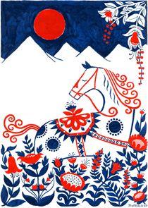 swedish Dala Horse print