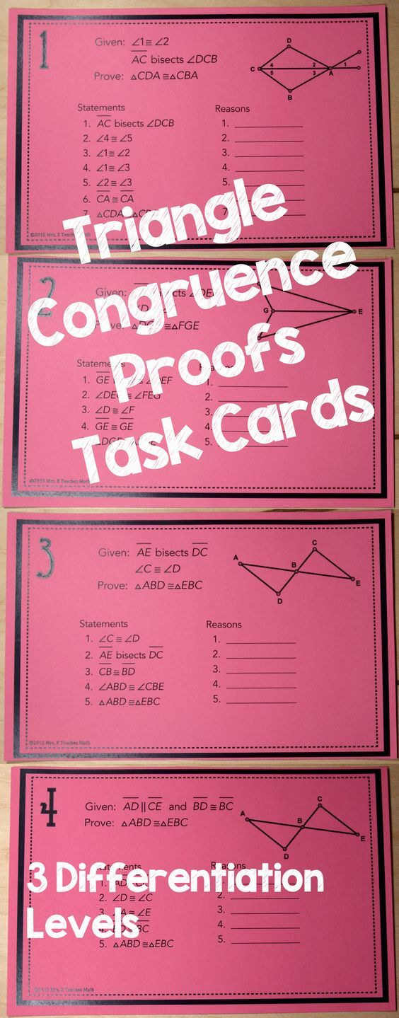 Triangle Congruence Proofs Task Cards - I love using task cards to help high school students practice geometry proofs. I can do so many different activities with them and I can spend time helping struggling students.