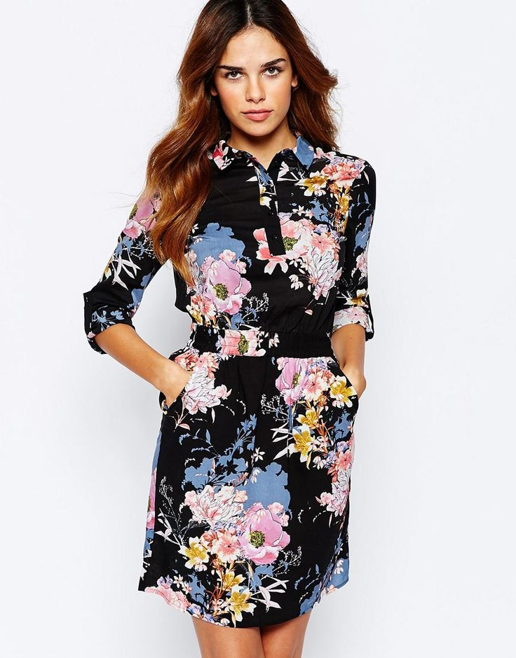 Image 1 of Warehouse Floral Printed Shirt Dress