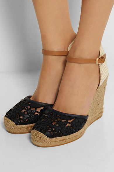 Tory Burch   Lucia leather and canvas wedge espadrilles        £220