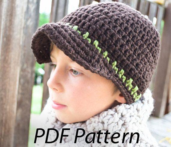 Crochet Hat Pattern Teenager : Crochet pattern pdf Taylor Visor beanie hat for boys ...
