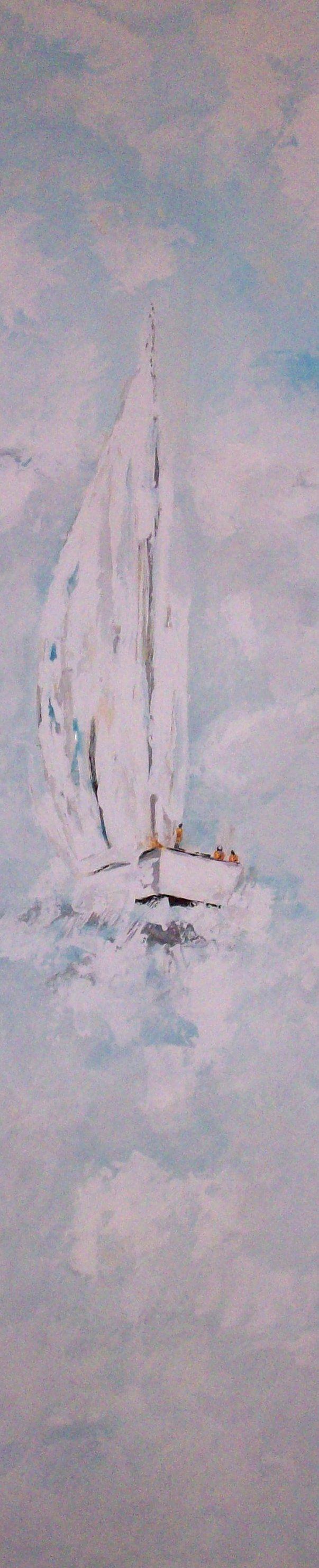 Toda la mañana trabajando para pintar este tríptico con veleros -Y a la venta en mi web- Parte 2 http://www.goloviartecuadros.es/