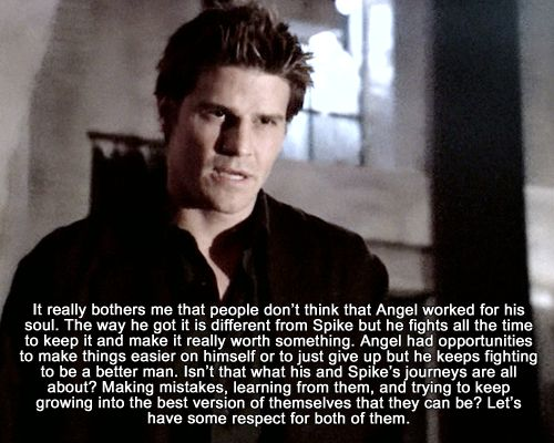 YES...Angel is amazing...and still holds the best moment ith Buffy EVER (Beoming Pt. 2), But Im still all 4 Spike...his back story and Season 4-7 ith Buffy is an AH-MA-ZING storyline!