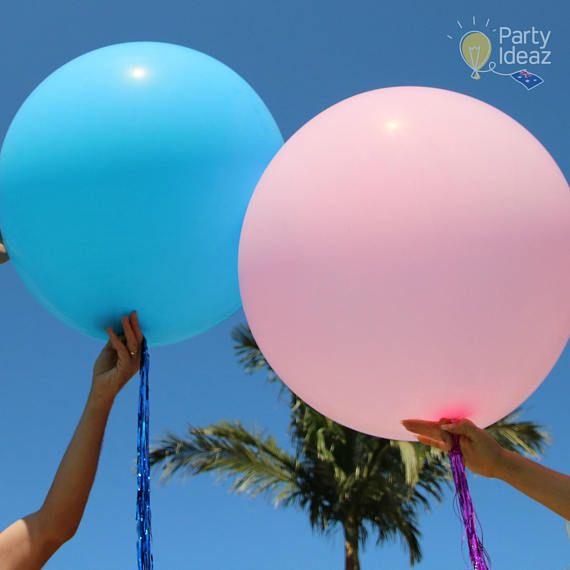 Blue / Pink Giant Jumbo Helium Balloons & Metallic Tassels