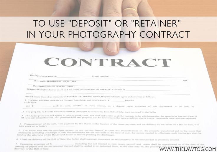 """To Use """"retainer"""" or """"deposit"""" in your photography contract #thelawtog"""